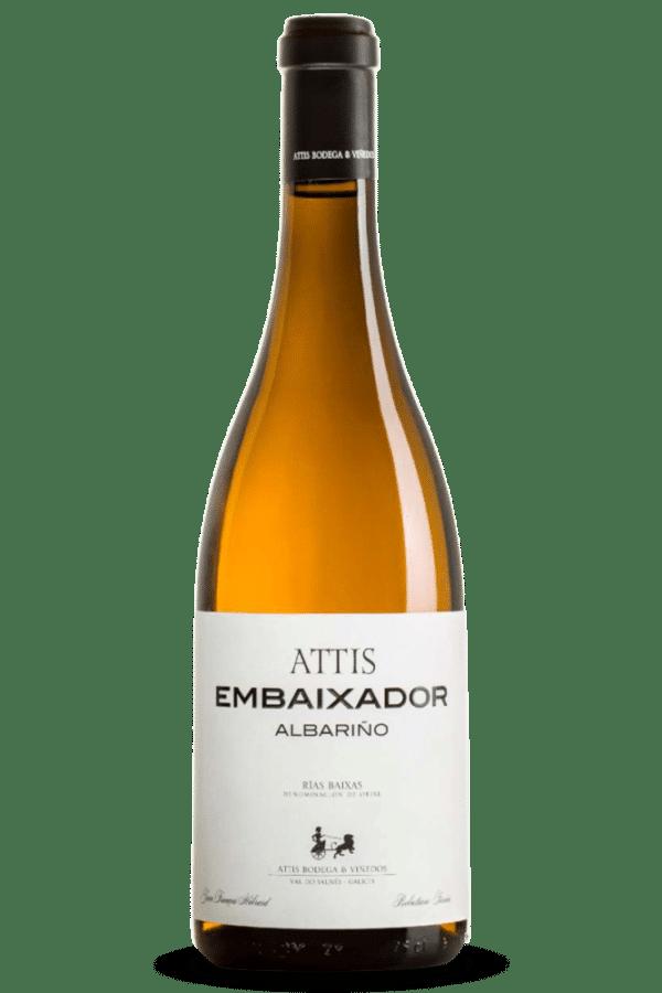 botella de vino attis embaixador albariño
