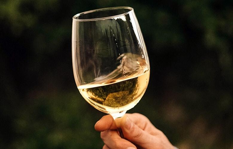 copa de vino en mano