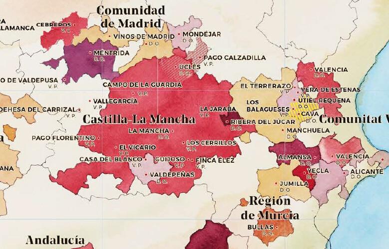 mapa de los vinos de espana cortado castilla mancha